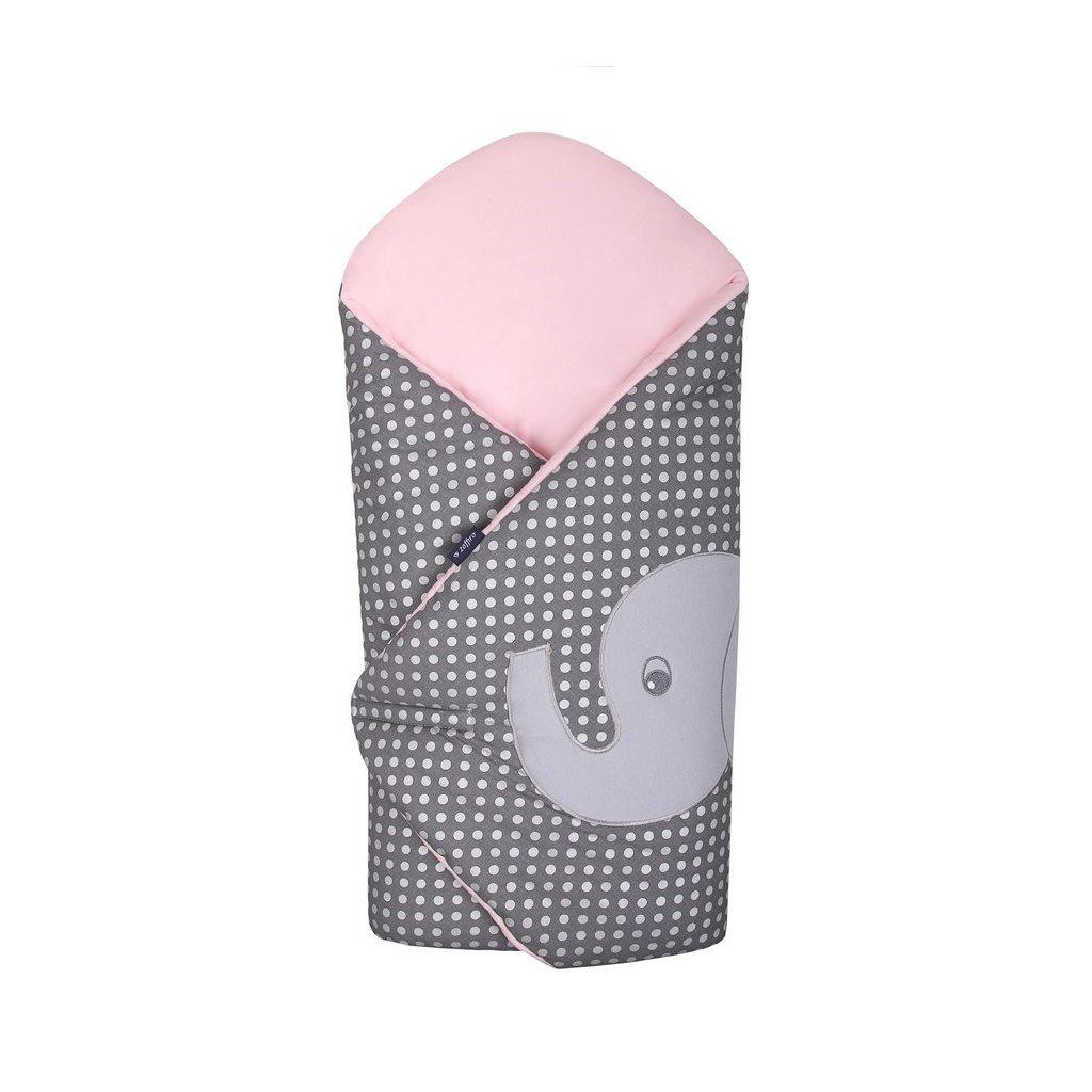 Hímzett pólya Womar elefánt rózsaszín