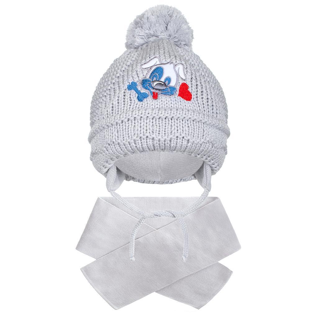 Téli gyermek sapka sállal New Baby kutyus szürke