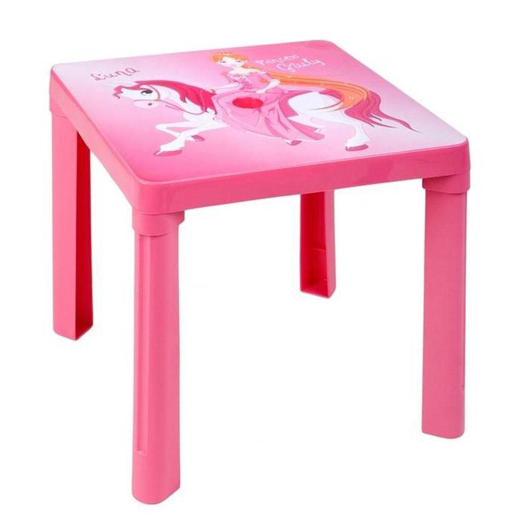 Gyerek kerti bútor- műanyag asztal rózsaszín