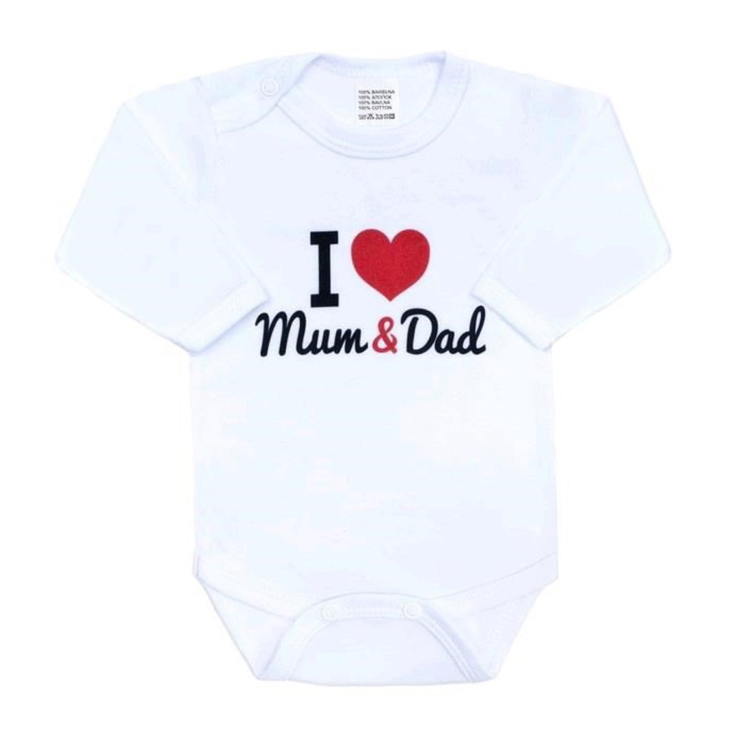 Body nyomott mintával New Baby I Love Mum and Dad