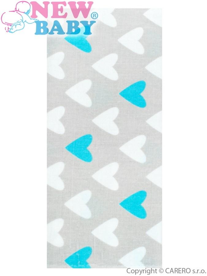 Flanel pelenka nyomtatott mintával New Baby szürke türkiz és fehér szívecskékkel