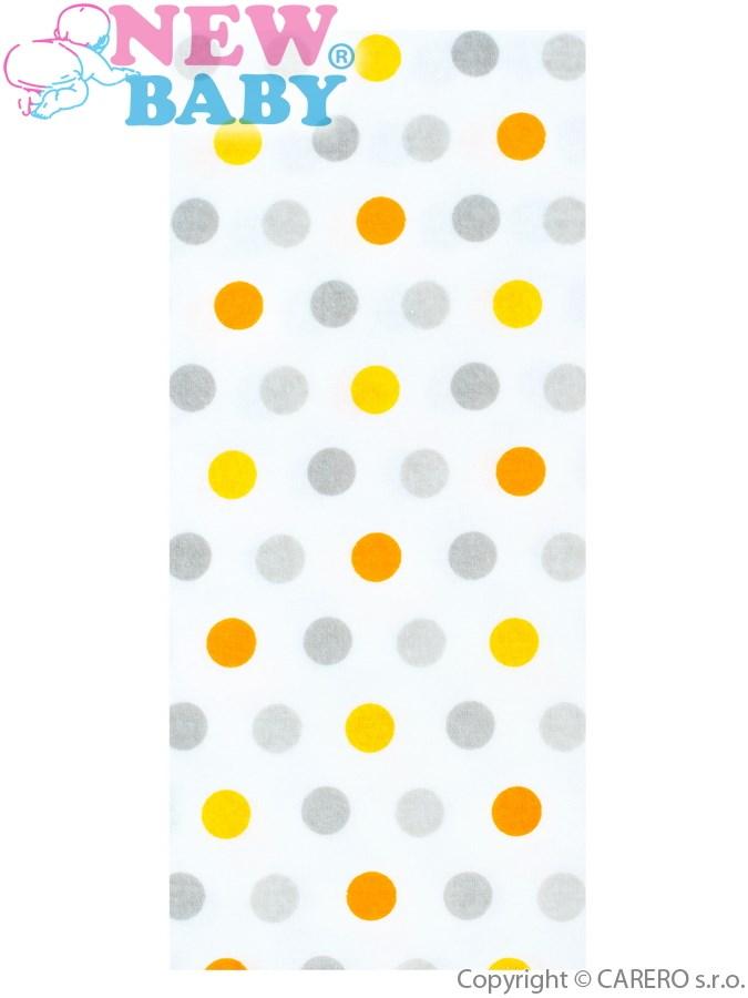 Flanel pelenka nyomtatott mintával New Baby fehér színes pöttyökkel