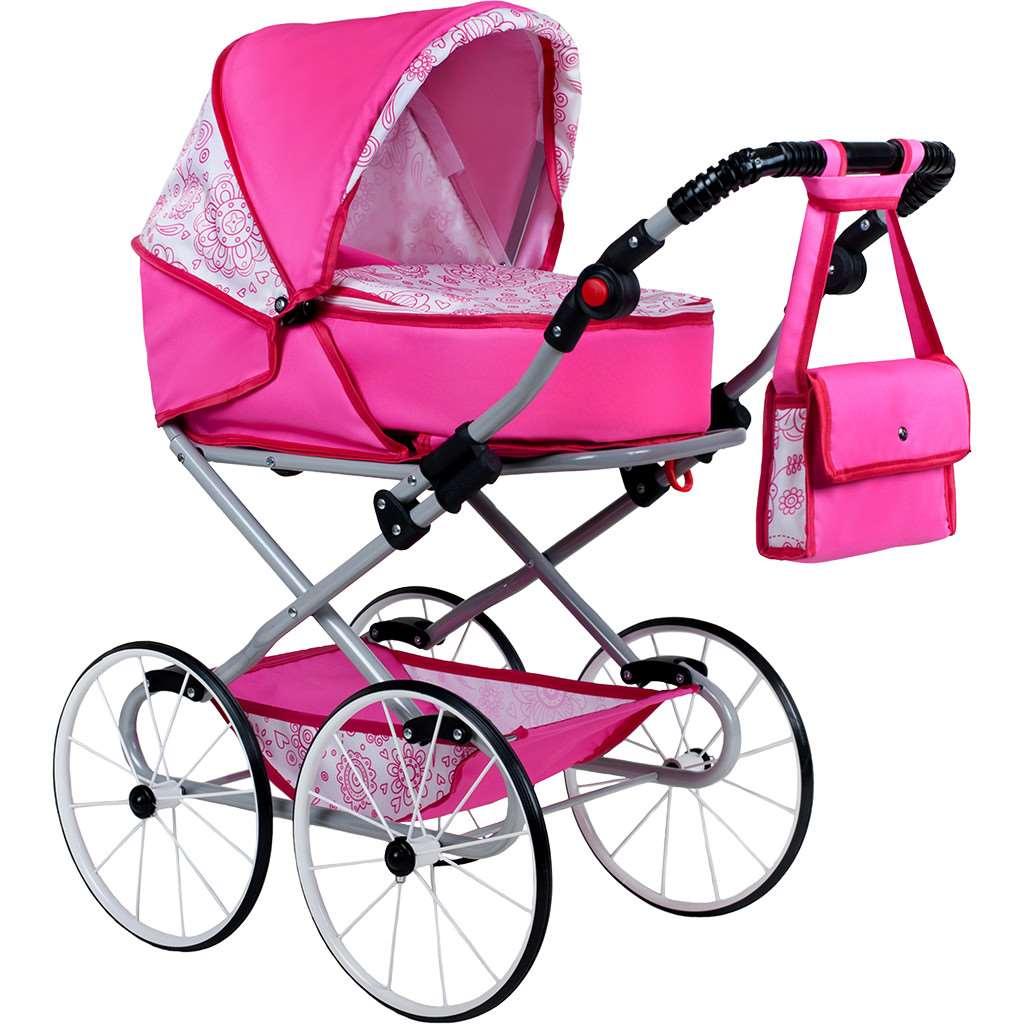 Gyermek Retro babakocsi babáknak 2az1-ben New Baby Natálka rózsaszín