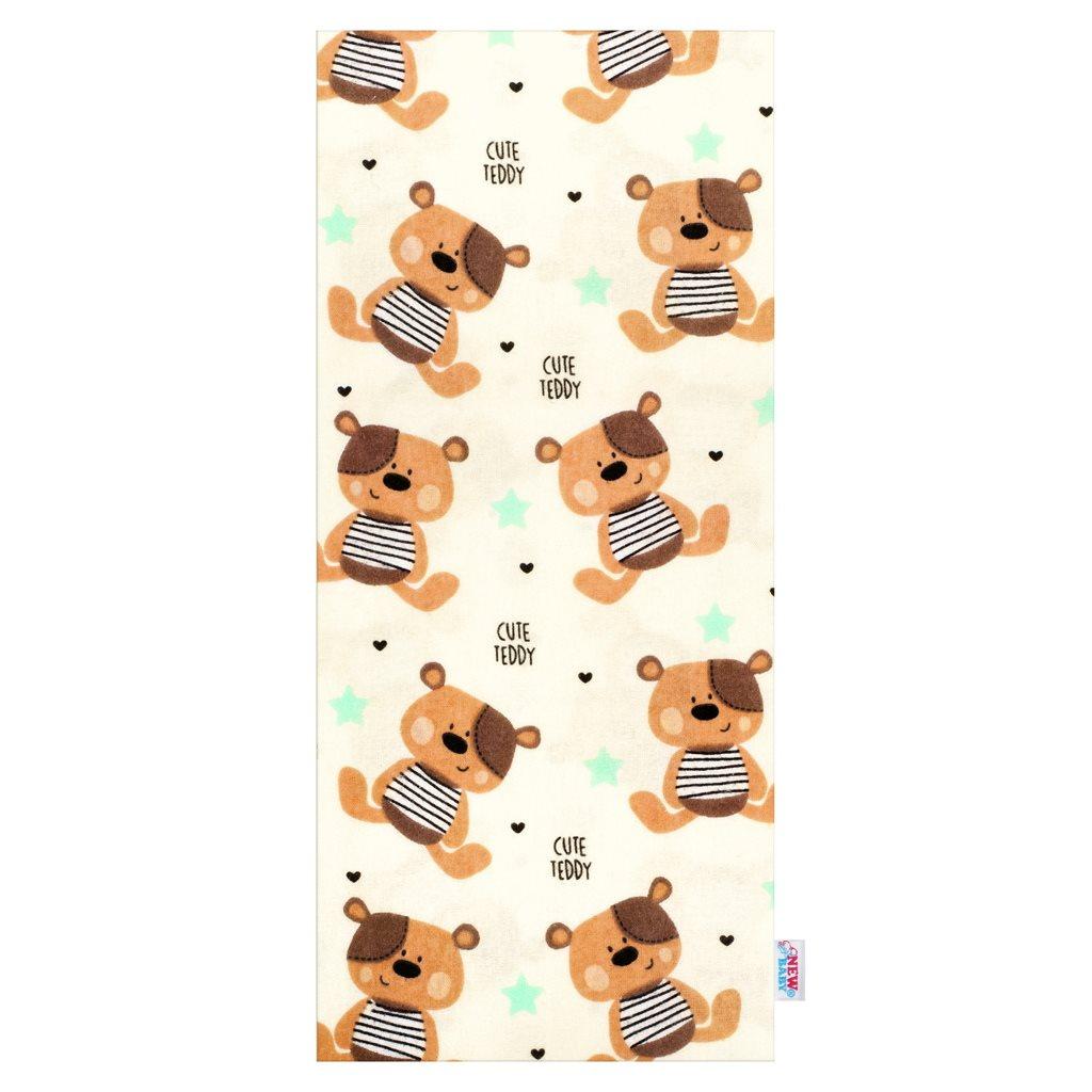 Flanel pelenka nyomtatott mintával New Baby krémszínű Cute Teddy barna
