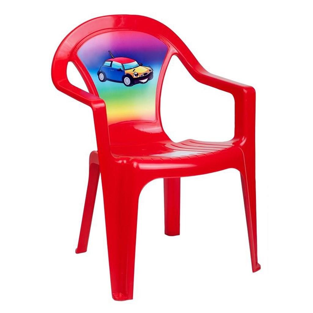 Gyerek kerti bútor- műanyag szék piros autó