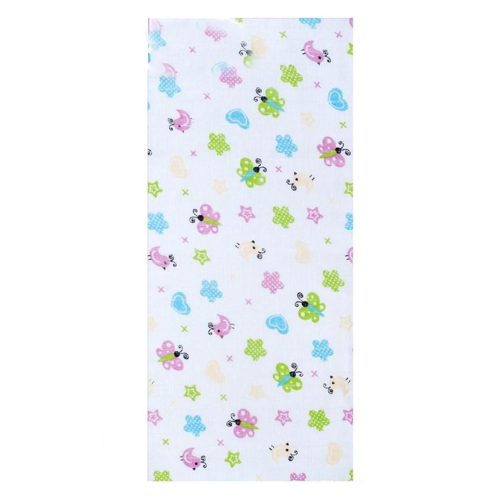 Pamut pelenka nyomtatott mintával New Baby fehér  Pillangó és szívecskék