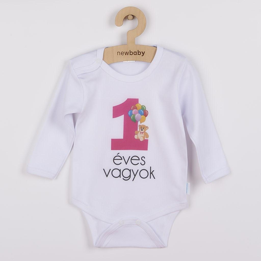 Body nyomtatott mintával New Baby 1 éves vagyok rózsaszín
