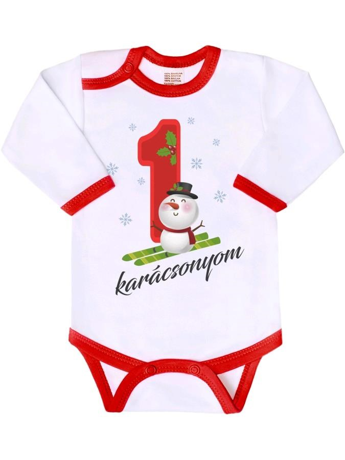 Body nyomtatott mintával New Baby Az én 1 karácsonyom