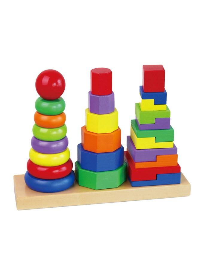 Fából készült színes piramisok gyermekeknek Viga