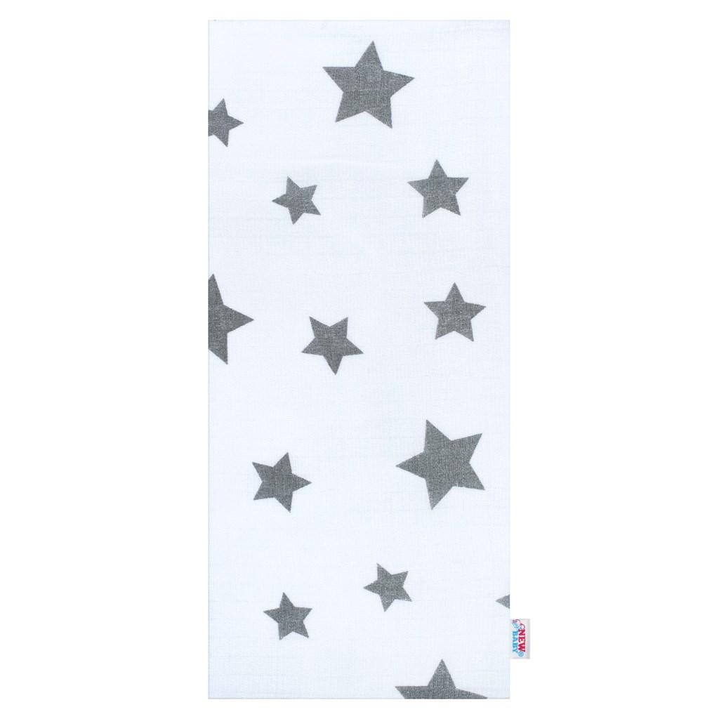 New Baby pamut pelenka nyomtatott mintával fehér szürke csillagokkal