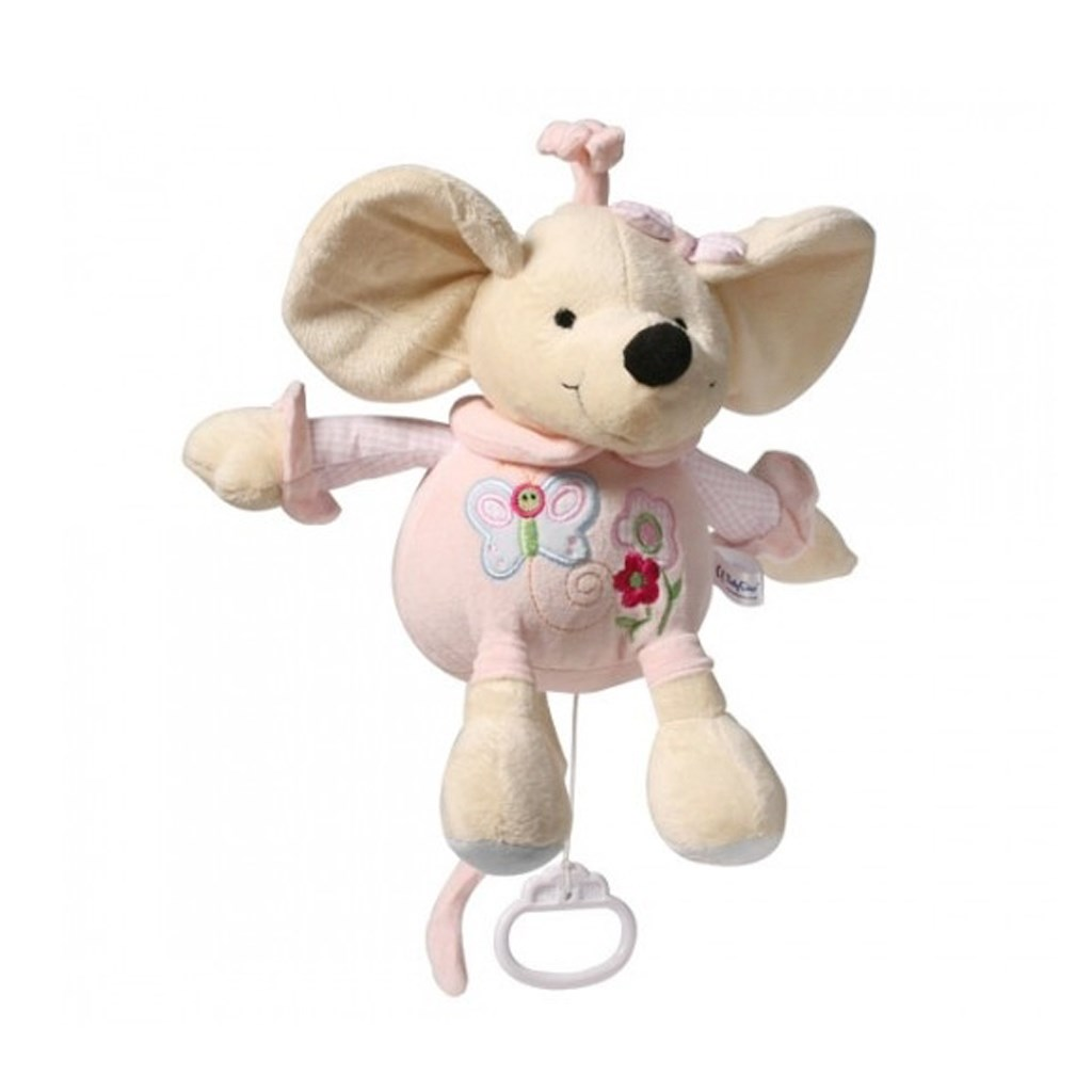 Plüss zenélő játék Baby Ono Egér rózsaszín 31 db