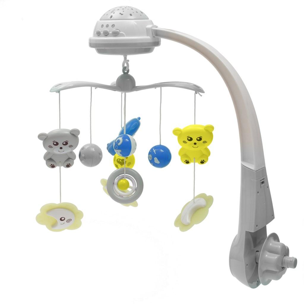Körhinta a kiságy fölé világító vetítővel  Baby Mix grey