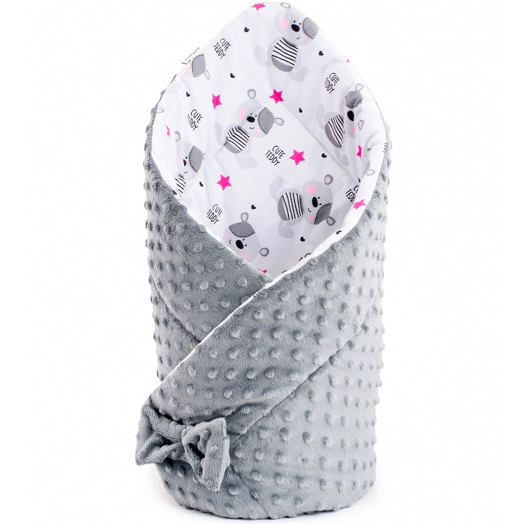 Kétoldalas pólya Minka New Baby 75x75 cm teddy szürke rózsaszín csillagokkal