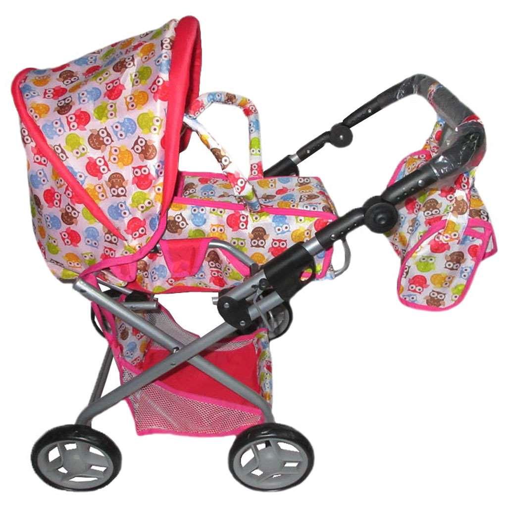 Gyermek babakocsi babáknak 2az1-ben Baby Mix baglyokkal