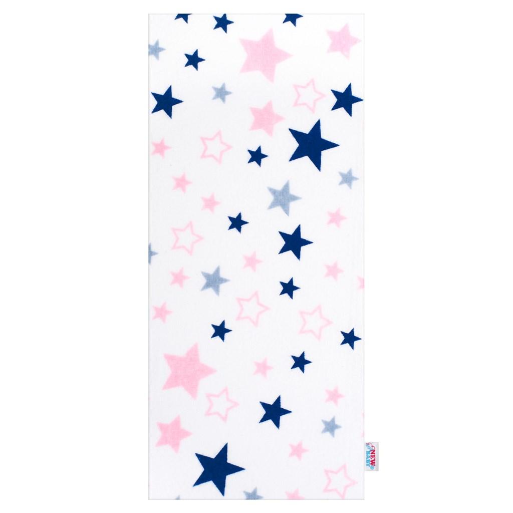 Flanel pelenka nyomtatott mintával New Baby fehér csillagok
