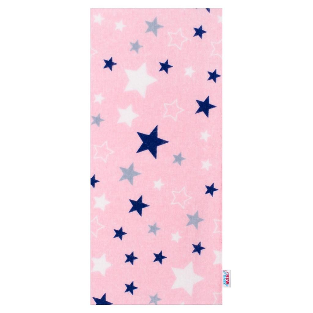Flanel pelenka nyomtatott mintával New Baby rózsaszín kék csillagokkal
