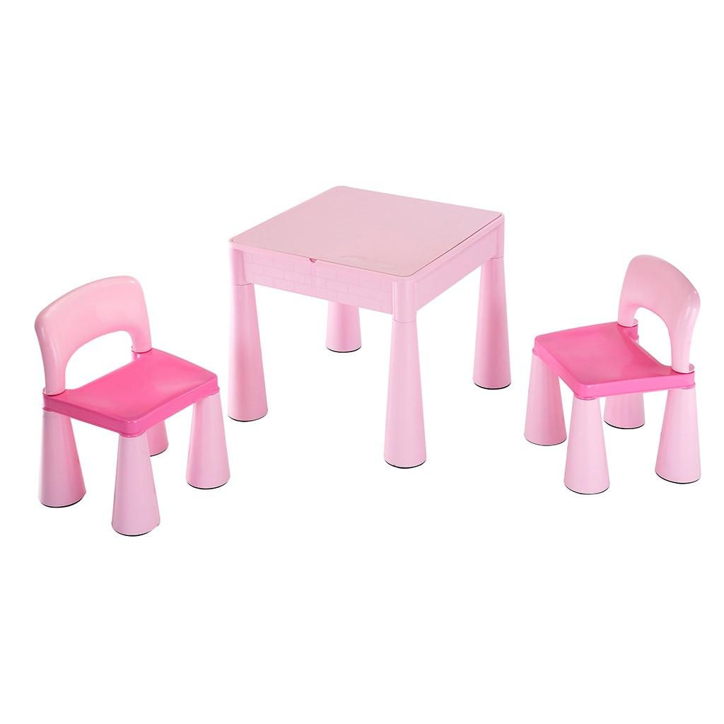 Gyerek szett NEW BABY - asztalka két székkel rózsaszín