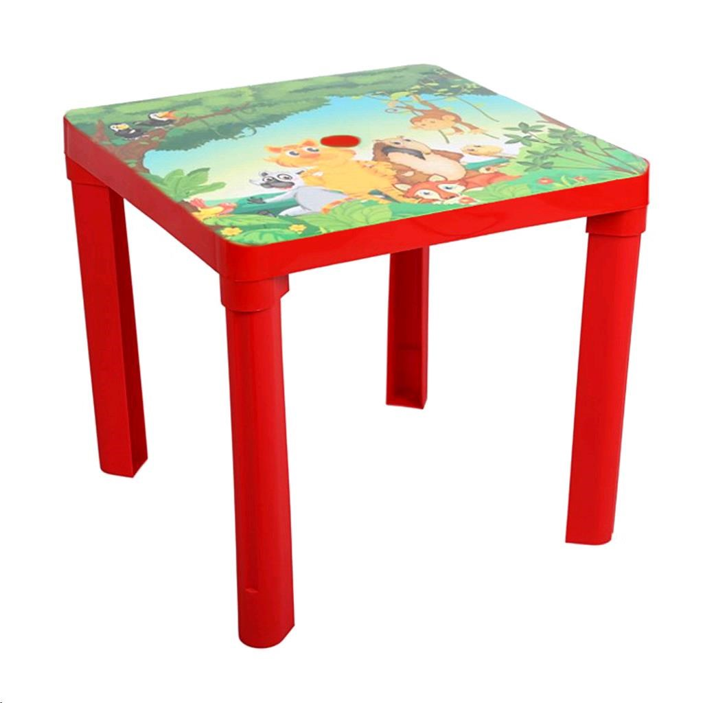 Gyerek kerti bútor- műanyag asztal safari piros