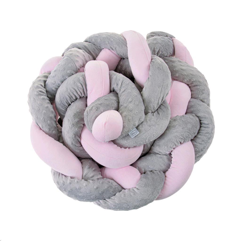 Fonott rácsvédő kiságyba Belisima szürke rózsaszín