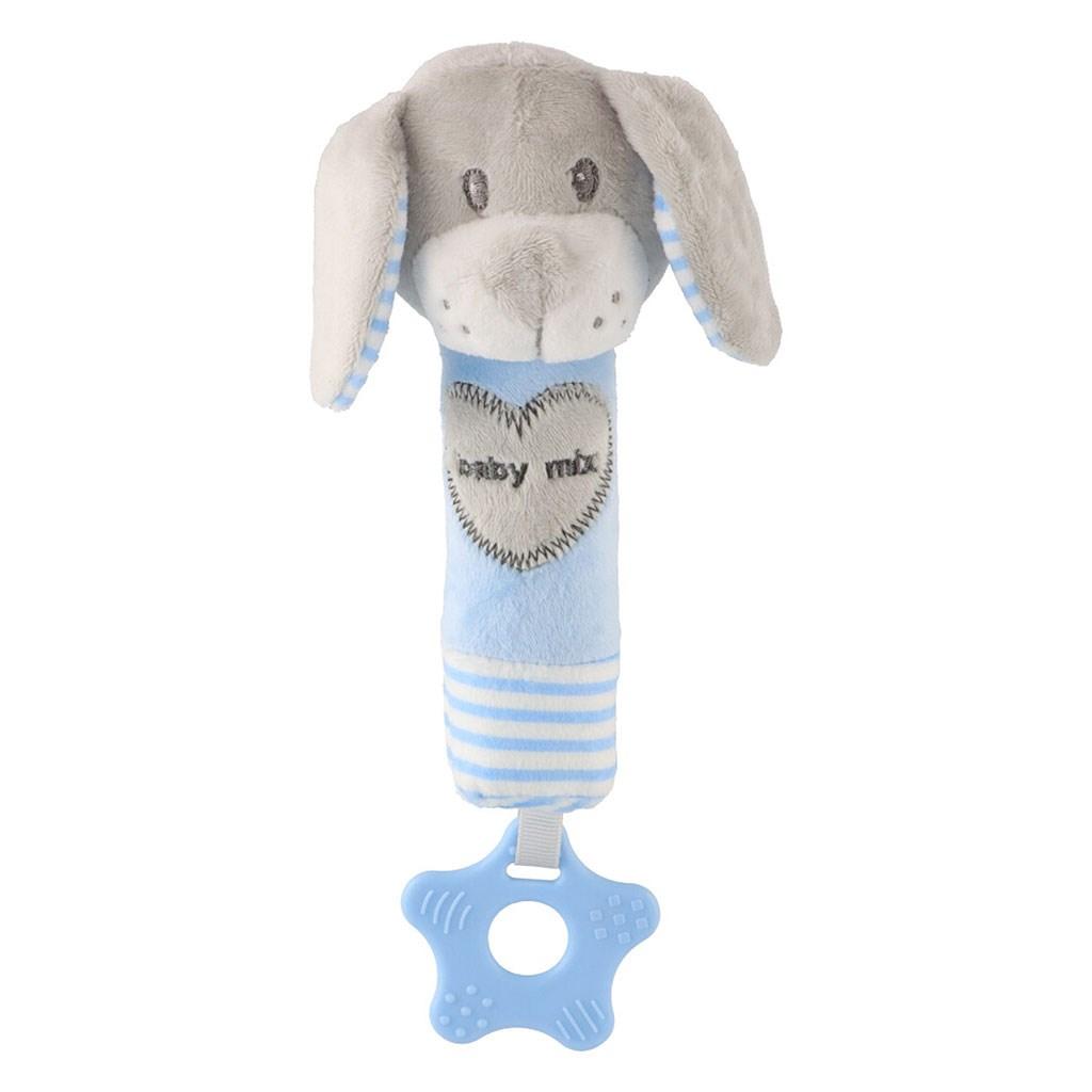 Sípolós plüss játék rágókával Baby Mix kutya kék