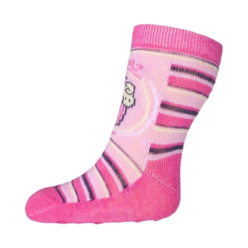 Baba zokni New Baby ABS-el rózsaszín csíkos torta