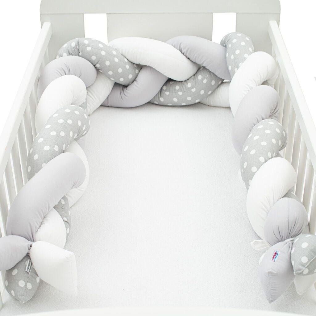 Védő fonott rácsvédő kiságyba New Baby Pöttyök szürke-fehér