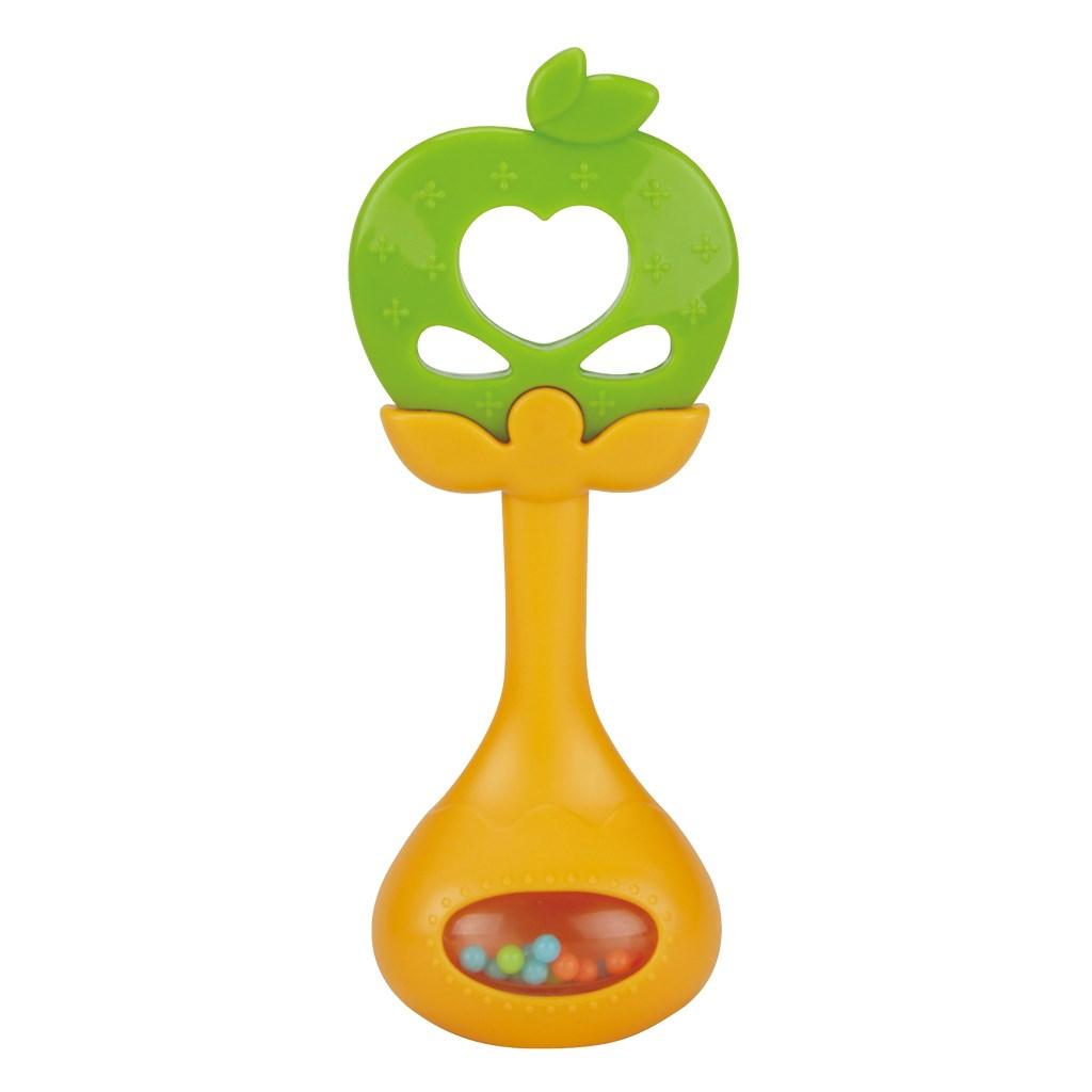 Szilikon rágóka csörgővel BAYO alma