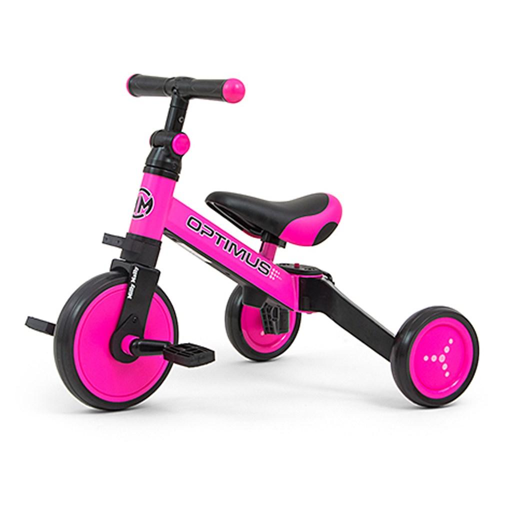 Gyerek háromkerekű bicikli 3az1-ben Milly Mally Optimus pink