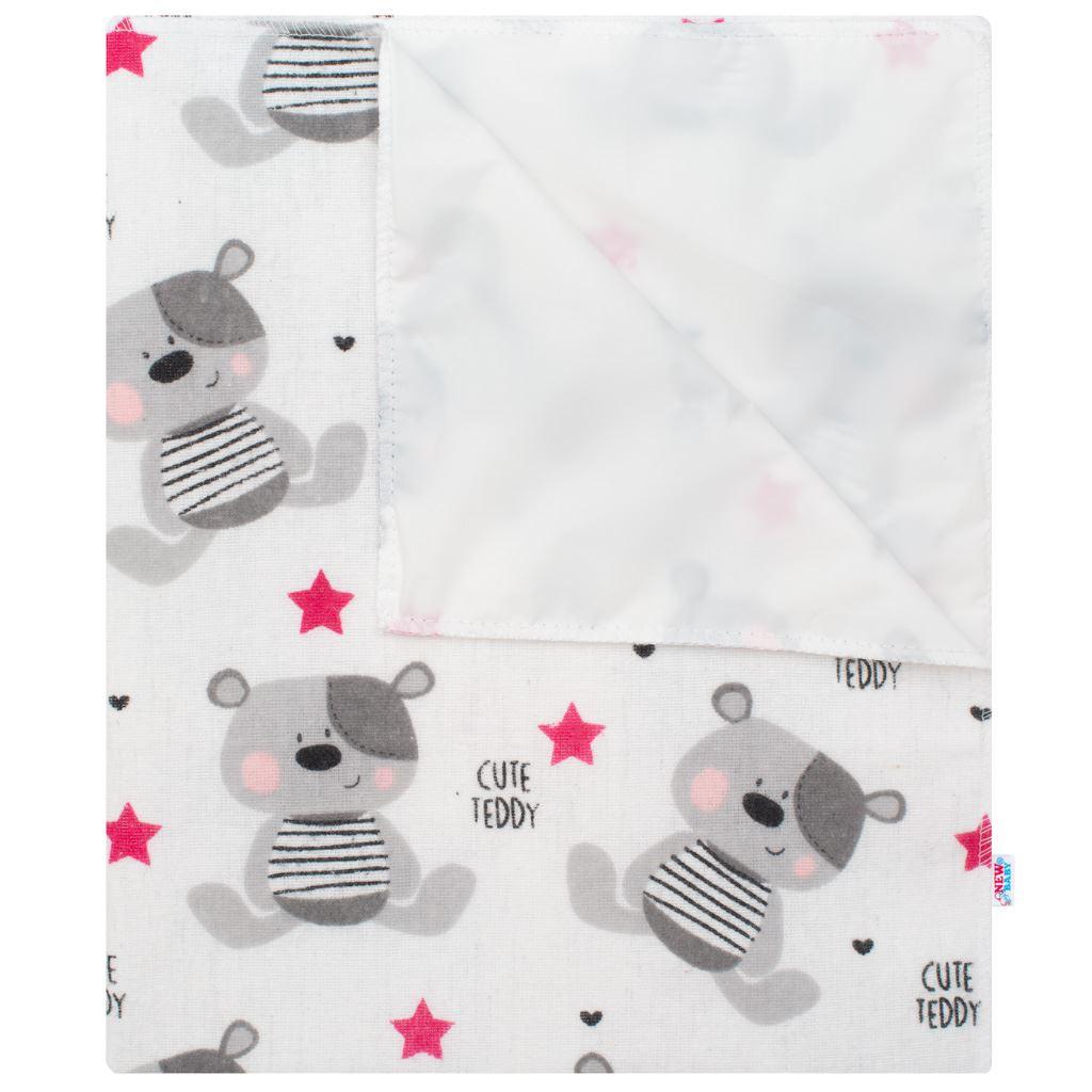 Vízálló flanel alátét New Baby Cute Teddy rózsaszín
