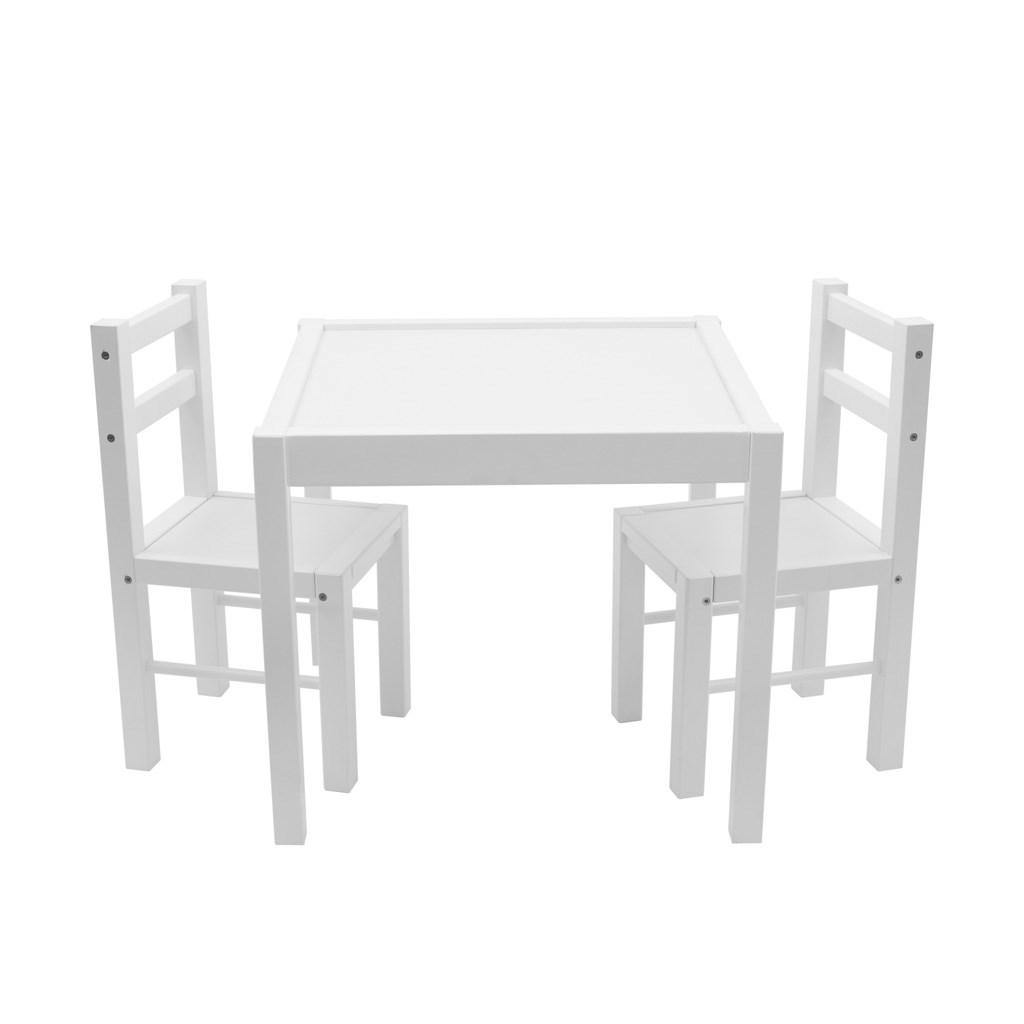 Gyerek fa asztal székekkel New Baby PRIMA fehér
