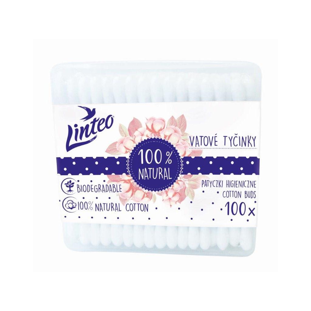 Papír fültisztító pálcika 100% natural Linteo 100 db dobozban