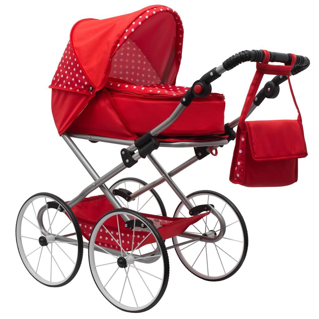 Gyermek Retro babakocsi babáknak 2az1-ben New Baby Magdalena piros pöttyös